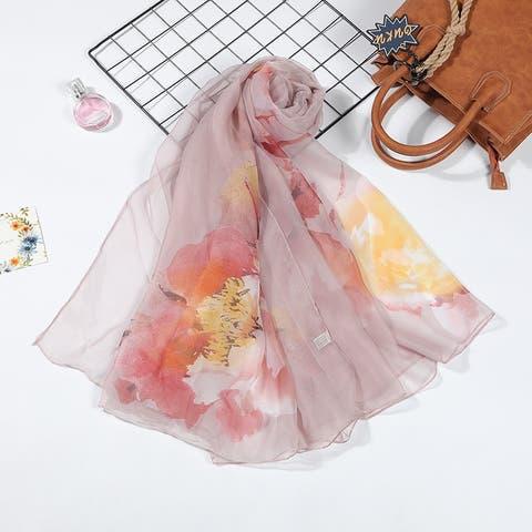 Women's Printed Scarf And Silk Silk Sunscreen Beach Scarf
