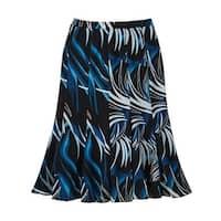 Women's Blue/Black Panel Easy Traveler Skirt - Knee Length