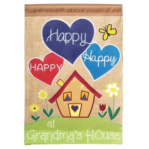 "Multicolor Double Sided ""Happy at Grandma's House"" Burlap Garden Flag 18"" x 13"" - N/A"