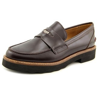 Coach Indie Women Round Toe Leather Brown Loafer