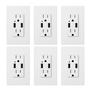 6 Pack Dual USB Charging Wall Outlets, 15A AC 4.2A USB Ports
