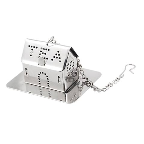 House Shape Loose Leaf Tea Infuser Strainer w Tray and Chain