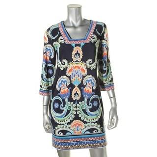Laundry by Shelli Segal Womens Matte Jersey Printed Wear to Work Dress - 0