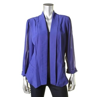 City Chic Womens Sheer Trim 3/4 Sleeves Open-Front Blazer