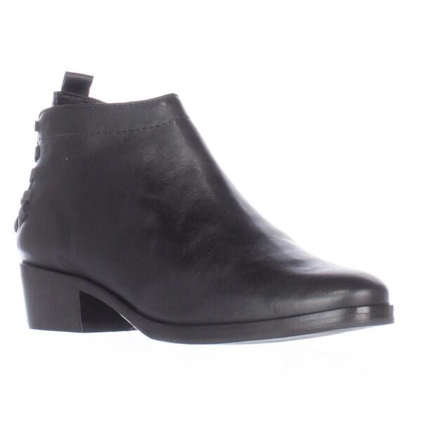 A7EIJE Saxon Elastic Woven Strap Heel Short Ankle Boots, Black - 7.5 us / 38.5 eu