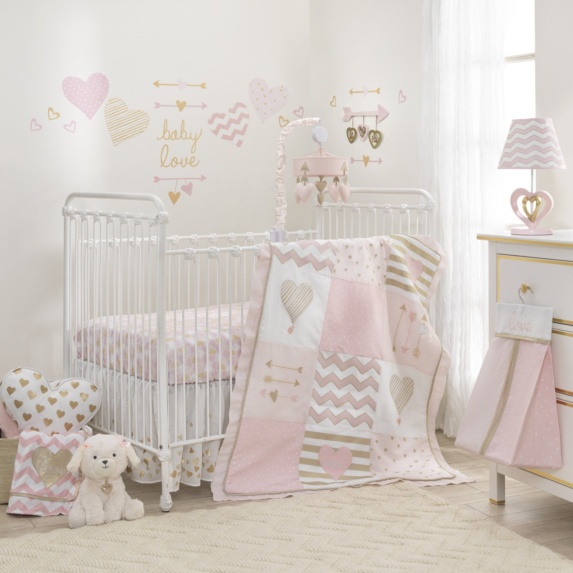 Lambs Ivy Baby Love Metallic Gold Pink White Hearts Stripes And Chevrons 4 Piece Nursery Crib Bedding Set