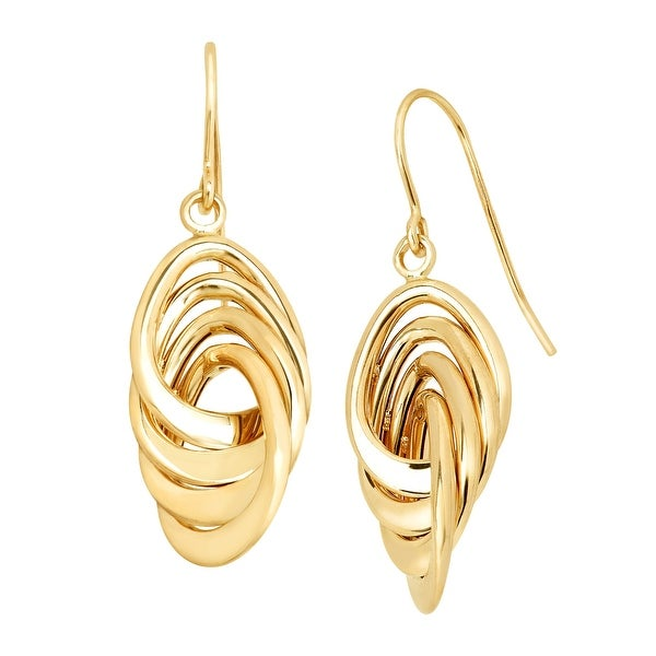 Just Gold Interlocking Twisted Drop Earrings in 14K Gold - YELLOW