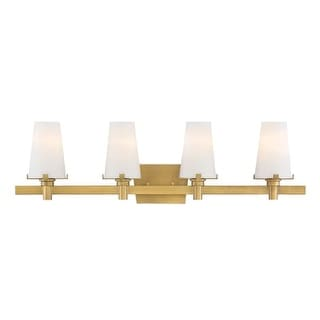 "Designers Fountain 87904 Hyde Park 4 Light 32"" Wide Bathroom Vanity Light with Seedy Glass Shade"