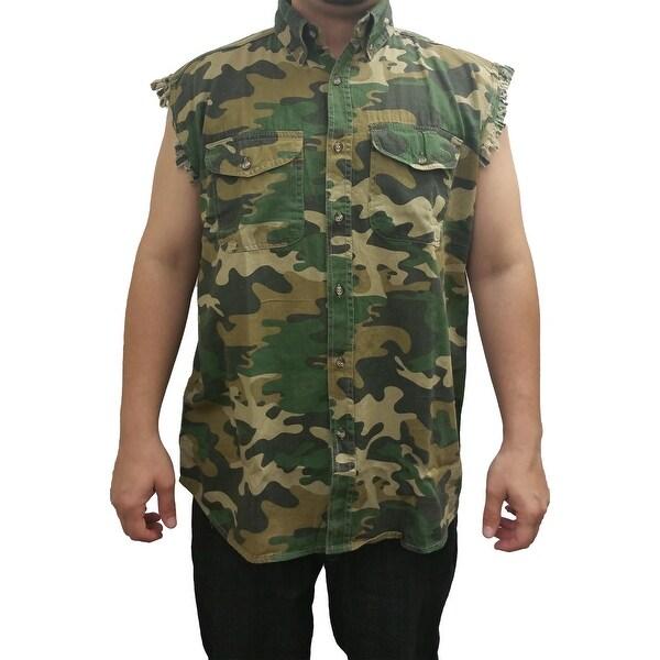 Men's Camo Sleeveless Denim Vest Camouflage Shirt 2 Front Pockets