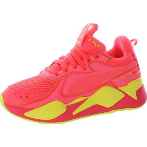 Puma Womens RS-X Soft Case Running Shoes Mesh Workout - Pink Alert/Yellow Alert