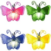 Set of 10 Pink, Green, Blue and Yellow Butterfly Novelty Christmas Lights - White Wire - multi