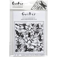 """Crafty Individuals Unmounted Rubber Stamp 4.75""""X7"""" Pkg-Hibiscus Repeating Background"""