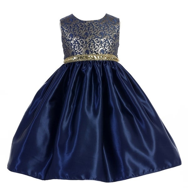 73a55647 Shop Crayon Kids Little Girls Navy Glitter Sequin Scroll Christmas Dress 3T  - Free Shipping On Orders Over $45 - Overstock - 18176753