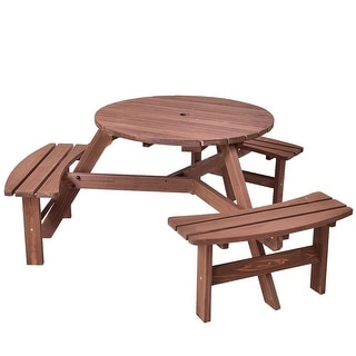 Super Costway Patio 6 Person Outdoor Wood Picnic Table Beer Bench Set Pub Dining Seat Garden Overstock Com Shopping The Best Deals On Tables Onthecornerstone Fun Painted Chair Ideas Images Onthecornerstoneorg