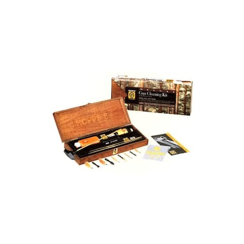 Hoppes buox hoppes deluxe gun cleaning kit w/wood storage case