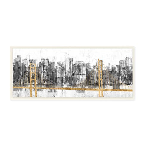 Stupell Industries Golden Bridge over Urban Distressed Cityscape Wood Wall Art, 7 x 17 - Gold