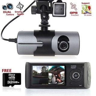 "Indigi® XR300 Car DVR DashCam w/ Dual Cameras (Front+Rear) Driving Recorder with 2.7"" LCD w/ GPS Tracker & 32gb microSD"