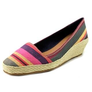 Lucky Brand Tomlinn Open Toe Canvas Wedge Heel