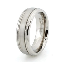 Titanium Ring w/ Grain Inlay & Brushed Center