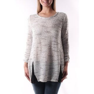 Womens White Speckle 3/4 Sleeve Crew Neck Sweater Size XS