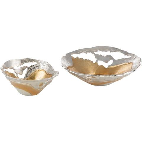 "Molakos Modern Aluminum Decorative Bowls (2 Pieces) - 12"" x 11.5"" x 5.25"", 18.25"" x 17"" x 5.5"""