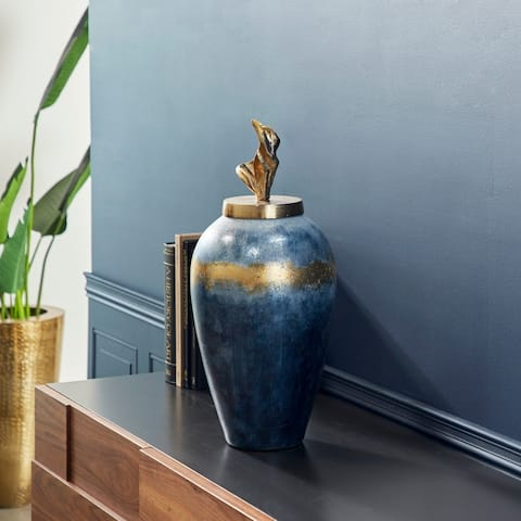 "Textured Blue and Gold Aluminum and Hand-Crafted Glass Lidded Vase, 10"" x 23"" - 10 x 10 x 24"