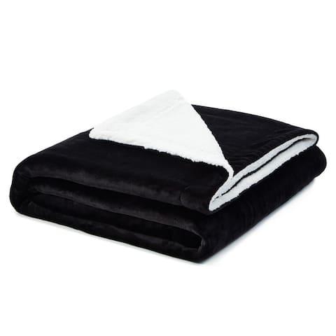 Keao Flannel Reversible Sherpa Throw Blanket