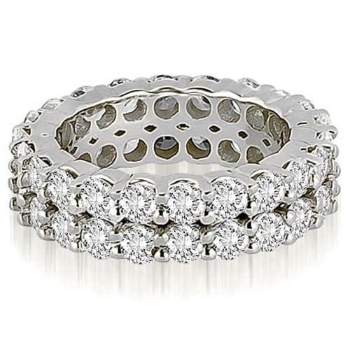 4.40 cttw. 14K White Gold Round Diamond Two Row Eternity Ring