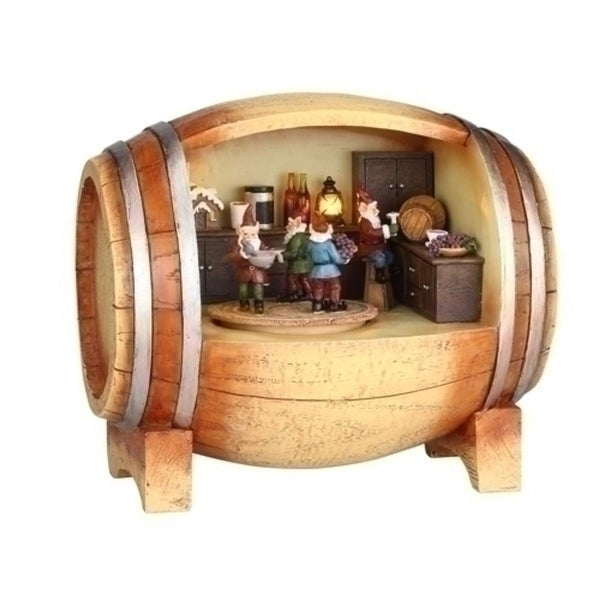 Amusements LED Lighted Revolving Musical Elves in a Wine Barrel Christmas Figure
