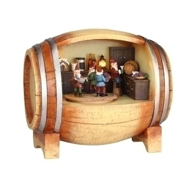 "7"" LED Lighted Revolving Musical Elves in a Wine Barrel Christmas Figure - beige"