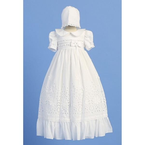 Angels Garment White Floral Cotton Baptism Dress Baby Girl 3M-12M
