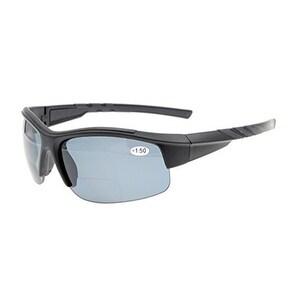 Eyekepper TR90 Sports Bifocal Half Rimless Sunglasses Matte Black Frame Grey Lens +1.0