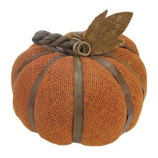 "6"" Autumn Harvest Rust Orange Burlap Pumpkin with Bamboo Thanksgiving Fall Decoration - N/A"