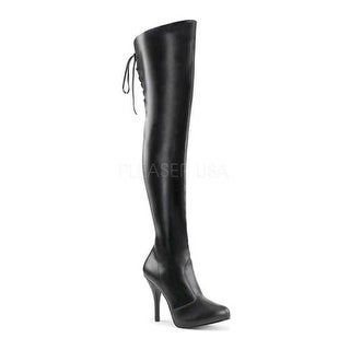 Pleaser Pink Label Women's Eve 312 Thigh-High Boot Black Stretch Faux Leather