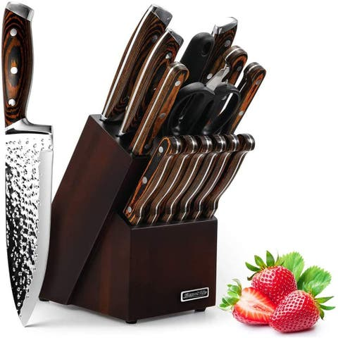 Knife Set, Elegant Life 15-Piece Kitchen Knife Set with Block Wooden, Manual Sharpening for Chef Knife Set, Self Sharpening