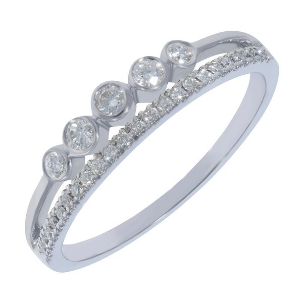 Prism Jewel 0.16Ct G-H//I1 Round Natural Diamond Designer Bypass Ring