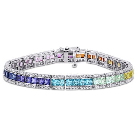 Square-cut Multi-Color Created Sapphire Halo Tennis Bracelet in Sterling Silver by Miadora