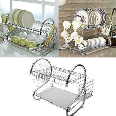 2 Tier Dish Drying Rack Drainer Kitchen Cutlery Holder Shelf