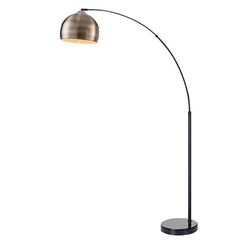 Versanora Arquer Arc Floor Lamp With Marble Base, Antique Brass Finished Shade
