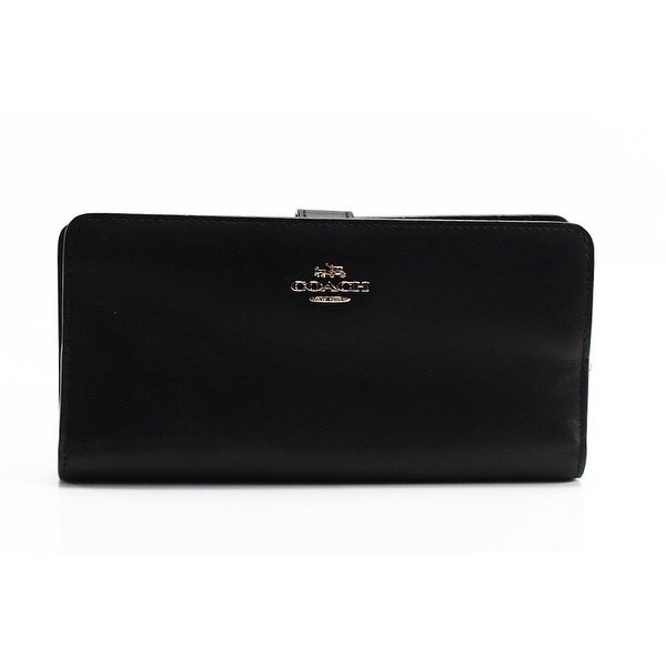 Coach NEW Black Refine Leather Skinny Bifold Cardholder Clutch Wallet