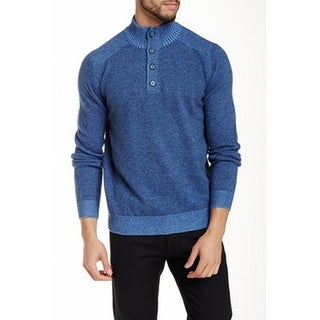 Toscano NEW Blue Mens Large L Buttoned Mock Neck Wool Sweater