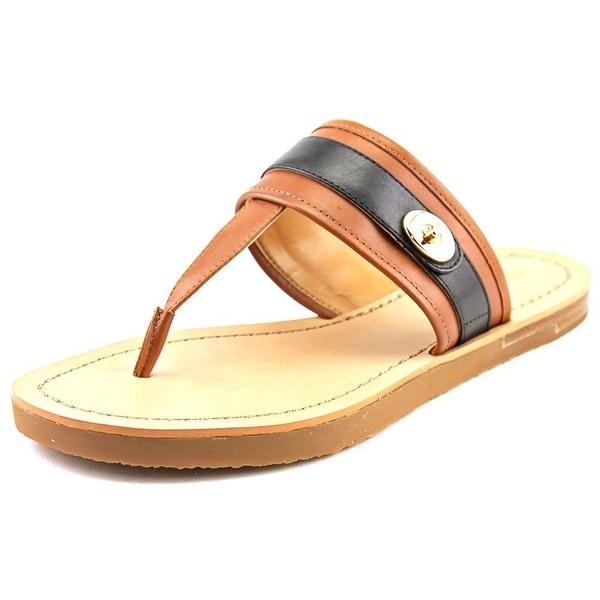 Coach Eileen Women Open Toe Leather Brown Thong Sandal