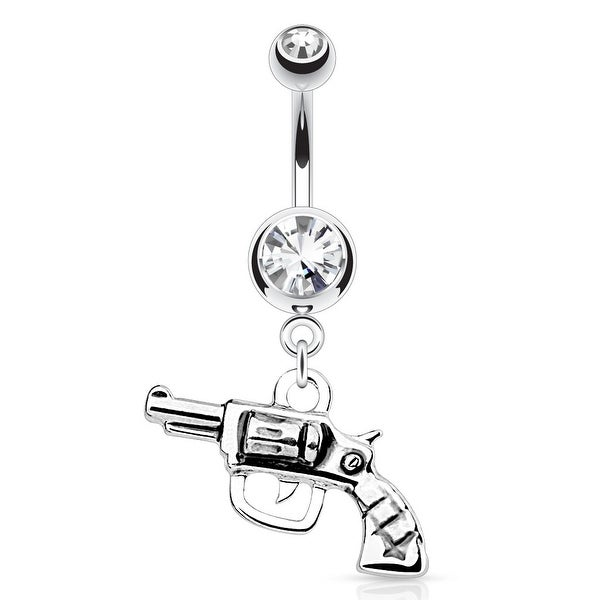 {Clear} Gun with Clear Gem Top 316L Surgical Steel Navel Ring
