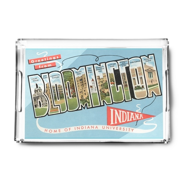 Bloomington, Indiana - Indiana University - Large Letter Scenes - Vintage Halftone (Acrylic Serving Tray)