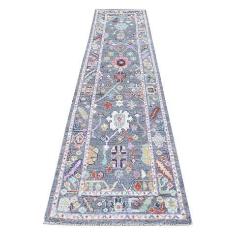 """Shahbanu Rugs 100% Wool Oushak Blue With Colorful Motifs Hand Knotted Oriental Runner Rug (2'8"""" x 11'7"""") - 2'8"""" x 11'7"""""""