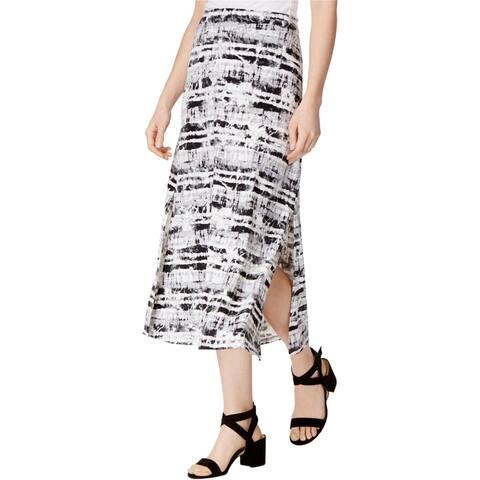 Kensie Womens Printed Maxi Skirt, Black, X-Large