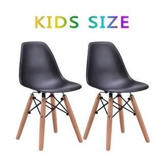 Kids Dining Chair Set Wood Dowel Legs Molded ABS Plastic Seat armless Black