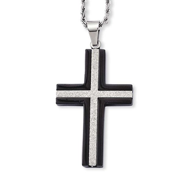 Stainless Steel IP Black-plated Laser Cut Cross Pendant 24in Necklace (2 mm) - 24 in