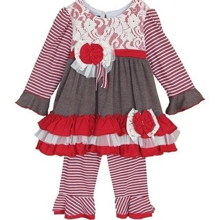 Isobella & Chloe Baby Girls Red Peppermint Latte Lace Flower 2 Pc Pant Set 3-24M