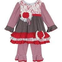 Isobella & Chloe Little Girls Red Peppermint Latte Lace Flower 2 Pc Pant Set 4T